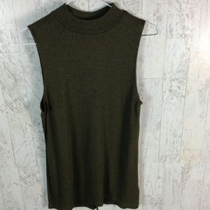 Express mock neck tank top with back lace up